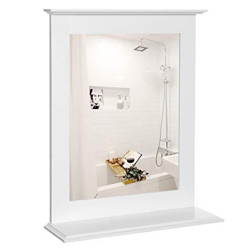 VASAGLE Wandspiegel, Badspiegel mit Ablage, Wandmontage, Schminkspiegel, für Schminktisch, 46 x 12 x 55 cm, mattweiß BBC25WT