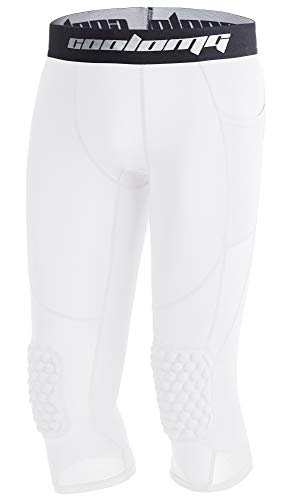 COOLOMG Basketball Pants with Knee Pads Kids 3/4 Compression Tights White L