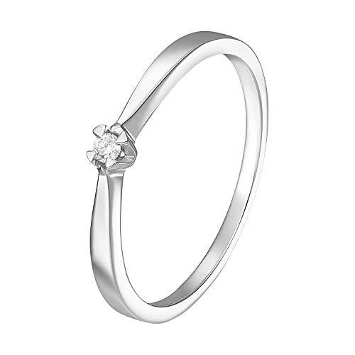 Ring für Damen Verlobungsring Antragsring 585 Weißgold Brillant 0,03 Karat Gold Diamantring 73096 (55 (17.5))