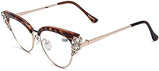 TT WARE Women Ultra-Light Cat Eye Frame Computer Reading Glasses with Rhinestone-Brown-2.0