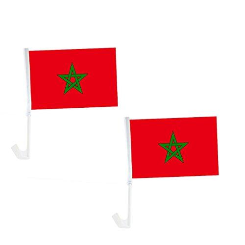 Sonia Originelli 2er Set Auto Flagge Fahne WM Länder Fußball Fan Farbe Marokko