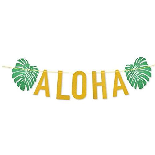 Naisicatar Aloha Banner Hawaii Garland Decoración con Hojas De Tortuga Brillo Oro para Verano Hawaiian Aloha Beach Pool Pool Decoration