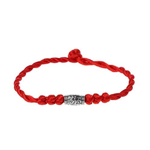 MachinYeseed Pulsera tradicional tibetana de plata con hilo rojo, amuleto de la suerte para hombre y mujer (color: plata)