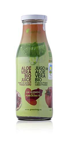 Green Frog Jugo de Aloe Vera Bio con Granada - Producto Fresco - Aloe Vera 99,8% Calidad Premium - 500 ml