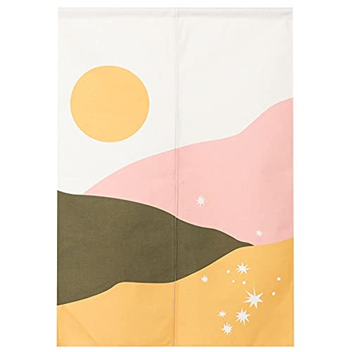 ZWJHNN Fabric Door Curtains Household Bedroom Partition Curtains Kitchen Shelter Cloth Decorative Tapestries (Color : Ink A, Size : 27.5x35.4in)
