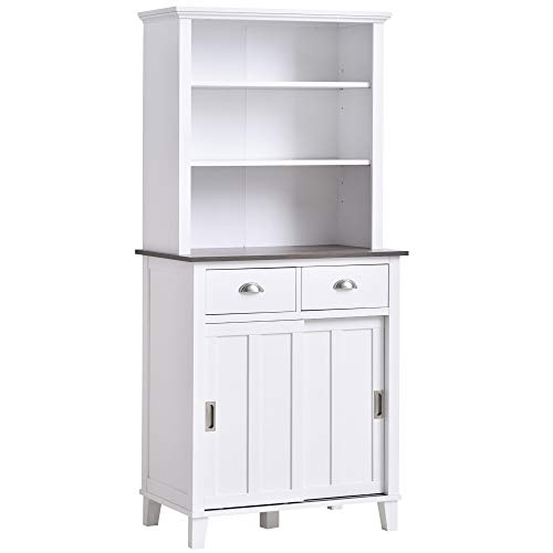 HOMCOM Freestanding Buffet with Hutch, Kitchen Pantry Cabinet Cupboard with Sliding Doors and Open Shelves, Adjustable Shelving, White