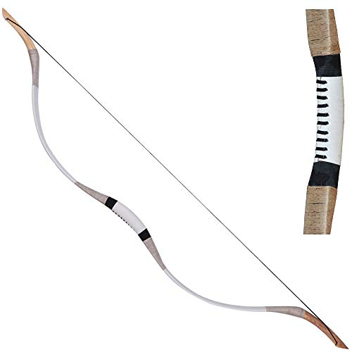 TOPARCHERY Traditional Archery 51' Longbow Hunting Cow Leather Recurve Horsebow Mongolian Bow 20-70LBS