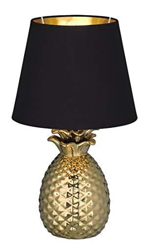 Reality Leuchten Pineapple R50421079 Tischleuchte, Keramik, Stoffschirm Schwarz / Gold