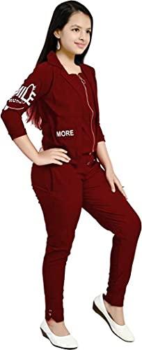 CUPIDVIBE Girls' Cotton Lycra 2 PCs Maxi Dress (Maroon)