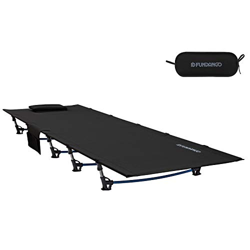 FUNDANGO Camping Cot Bed, Extra Long Lightweight Folding Compact Portable Sleeping Cot for Adult, Backpacking, Hiking, Camping, Travel, Office Nap, Outdoor, Indoor, Black