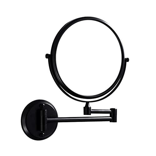 Multifunktionell väggmonterad sminkspegel svart enkel väggmonterad 20 cm sminkspegel badrum skönhetsspegel vikbar 3 x förstoringsglas dubbelsidiga grooming speglar (Co