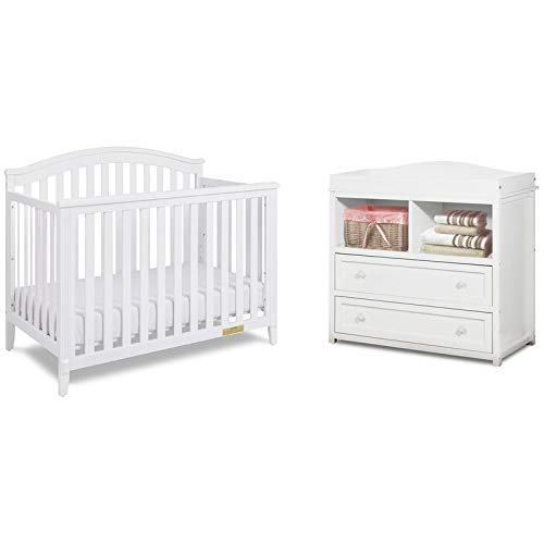 AFG Baby Kali II 4-in-1 Convertible Crib with Leila 2-Drawer Changer in White
