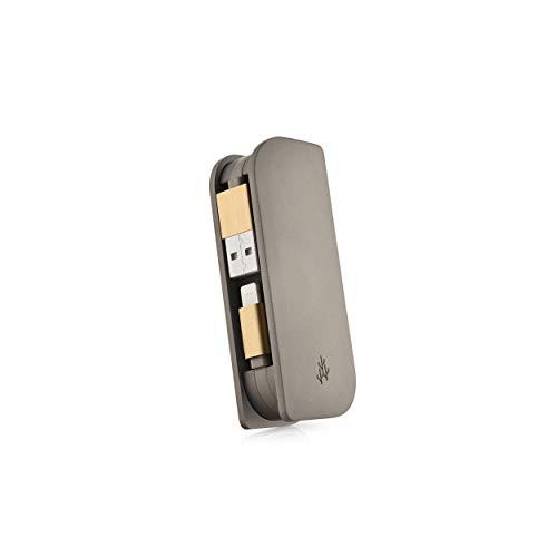 Externe accu voor tas/powerbank met 2 geïntegreerde kabels, 3000 mAh, voor iPhone, productserie Fusion Mini, taupe Gold
