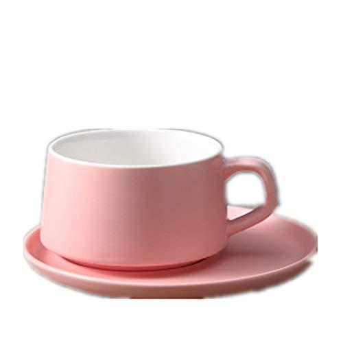 Taza Taza Hotel Macaron Taza de Porcelana Taza de café de Regalo Taza de Agua Taza de cerámica Color sólido Juego de Taza y Plato de café Rosa,6 * 9 * 15.5cm