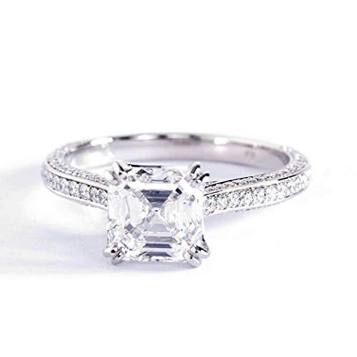 Anillo de compromiso de oro blanco de 18 quilates VS2 F de 3 filas de diamantes de talla Asscher de 1,60 quilates