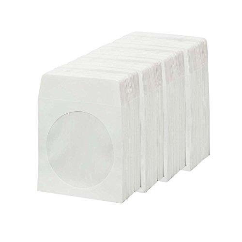 BestDuplicator - Sobres de papel con solapa y ventana transparente (400 mangas), color blanco