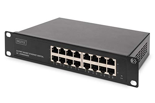 DIGITUS Gigabit Ethernet Netzwerk-Switch - 10 Zoll - 16 Ports - Unmanaged - Backplane 32 Gbps - Auto MDI/MDI-X - Schwarz