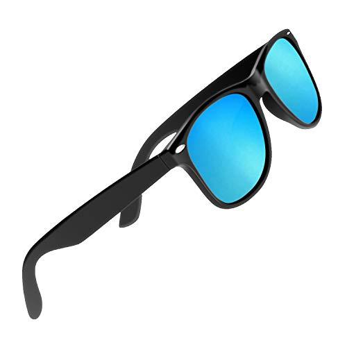 CHEREEKI Polarisierte Sonnenbrille Klassisch Retro UV400 Schutz Brille für Herren Damen (Blau)