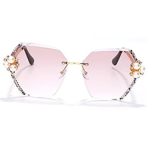NIUBKLAS Gafas de sol sin montura Vintage para mujer, gafas de sol graduales con diamantes grandes, gafas de sol para mujer, diamantes de imitación, hexágono 3