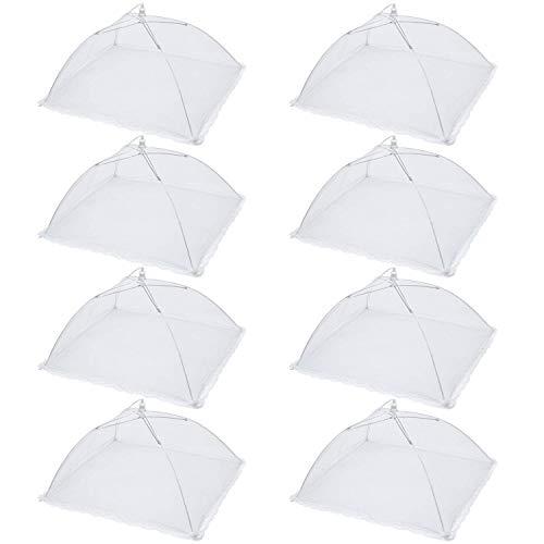 Anjing 8er-Pack 43,2 cm Pop-Up-Netz-Abdeckung für Lebensmittel, wiederverwendbar und zusammenklappbar, Lebensmittelnetz, Schirmabdeckungen, weiß