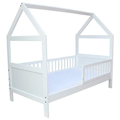 Micoland Kinderbett Juniorbett Bett Haus 140x70 cm massiv mit Matratze Weiss umbaubar