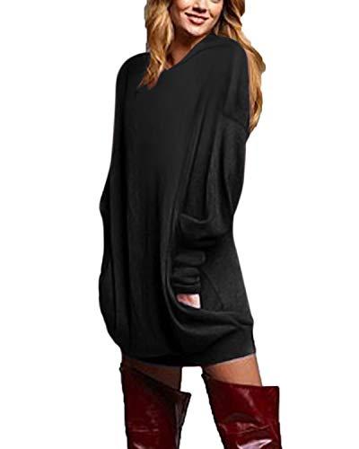 ZANZEA Vestidos Sudadera con Capucha Mujer Cuello V Manga Larga Jerseys Largos Hoodie Casual Tallas Grandes Suéter Suelta 03-con Capucha Negro XXL