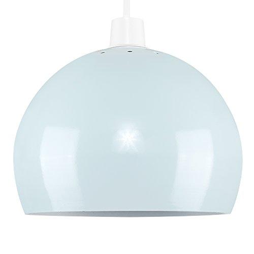 MiniSun – Moderne koepelvormige lampenkap uit metaal in New Yorkse koffiehuisstijl met een lichtblauwe afwerking en een witte binnenzijde – voor Hanglampen