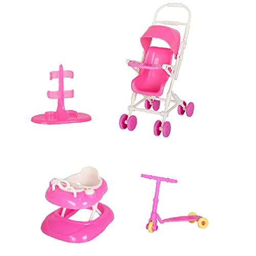 YepYes La Muñeca De Juguete Juego De Casa De Muñecas Accesorios con El Cochecito De Bebé Walker Vespa Muñeca Soporte para La Muñeca Toy Dolls