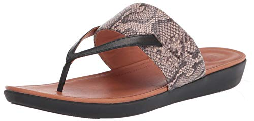 FitFlop Women's Delta Toe-Thong Sandals-Leather Print, Taupe Snake/Black, 10 M US