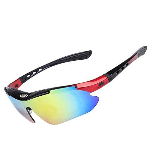 Sportbrillen Polarisierte Sport-Sonnenbrille zum Skifahren Golf Laufen Radsportbrille Superleichte Fassung mit 5 Wechselgläsern for Herren Damen (Color : Black-01)