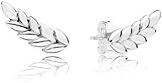 Real 925 Sterling Silver Curved Grains Europe Original Stud Earrings for Women Charm Bead Wedding Birthday Gift DIY Jewelry