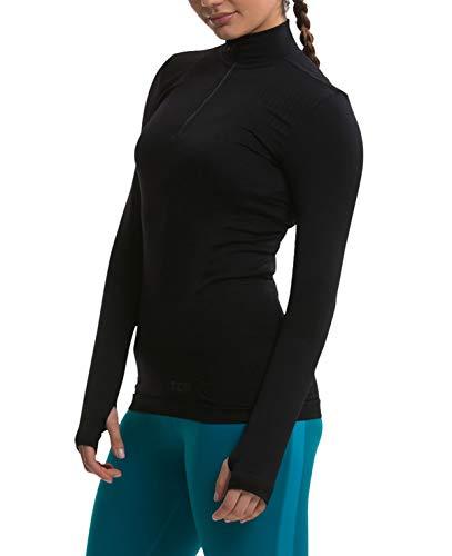 TCA Legend SuperKnit Half Zip Damen Laufshirt/Funktionsshirt mit Kragen - Langarm - Schwarz/Schwarz, M