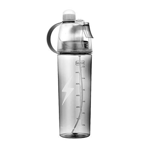 YIXINYOUPIN Deportes creativos botella de agua Spray enfriamiento taza de agua para estudiantes llevar al aire libre Unisex taza negro 600ml