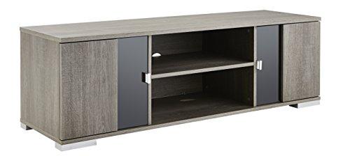 Demeyere NAMUR TV Bank, 2 glazen deuren, 1 holte, L 139 cm, kleur Prata, speciaal paneel, 139 x 41,7 x 43,4 cm