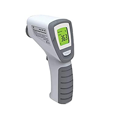IR Infrared Digital Non-Contact Thermometer Gun with Three Color LCD Screen for Adult and Baby Forehead, Ear and Body Temperature with Fever Alarm and Memory Function