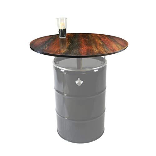 Tischplatte, rund, d = 100cm, 21mm Multiplex-Holz, farbig gestaltet u. geölt, für 210L Ölfass als Stehtisch, Öltonne, Tonne, Fass, Feuertonne, Stahlfass