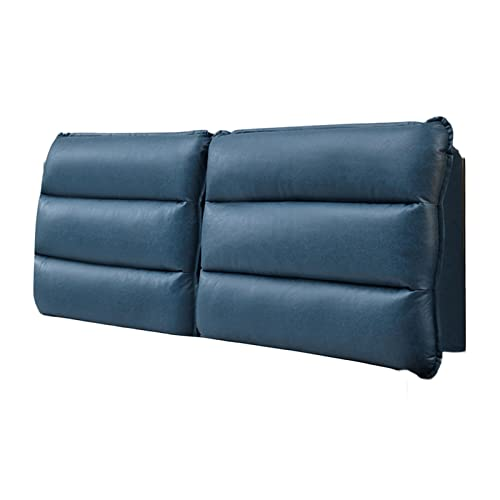 Headboard Cushion, Positioners Reading Bedrest Throw Pillows, Removable Relaxing Large Back Support Lumbar Cushion Pillow for Home, Custom Size PENGFEI (Color : Blue, Size : 185cmx60cmx10cm)
