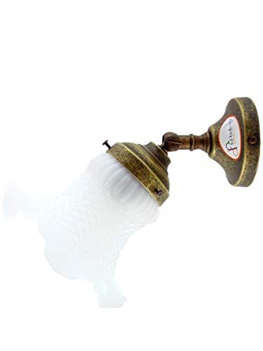 Appliques Messing gealtert in einem hellen, weißen Glas im Jugendstil, Lampenbeleuchtung an22 Projektion 20cm, Glas Ø 12.5cm, Sockel Ø 8cm. Abmessungen inklusive Glas Edison E14 Lampenfassung