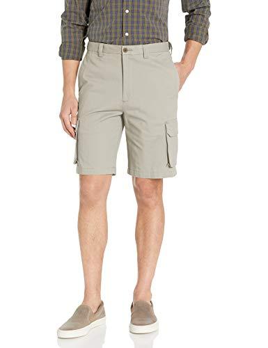 Haggar Men's Stretch Comfort Cargo Flat Front Short, Putty, 44