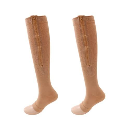 Calcetines de compresión con cremallera lateral punta abierta hasta la rodilla calcetines de compresión, negro, S-M