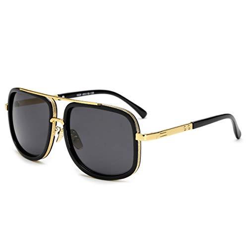 Hengtaichang Sunglasses Square Pilot Sunglasses Men Driving NEW Male Luxury Brand Sun Glasses For Men Metal Designer Cool Shades MIRROR Retro JY1828 C1 Black