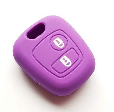 Carcasa de silicona para llave de coche, 2 botones, compatible con Citroën C1, C2, C3, C4, C5, XSARA, Picasso, Berlingo, SAXO, funda para mando a distancia 5 (morado)