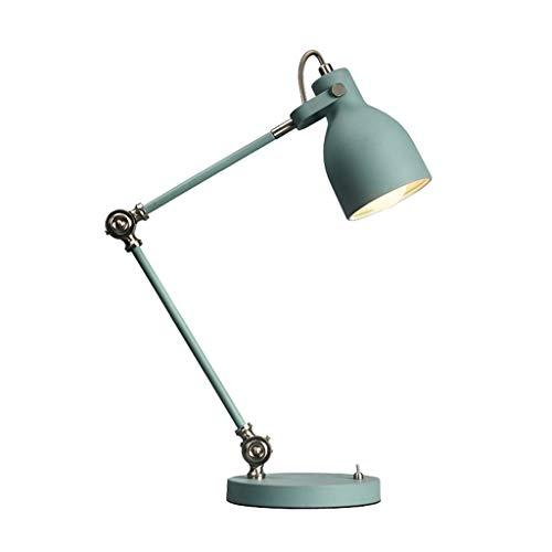 Swing bureaulamp, Metal Verstelbare Tafellamp kantoor, huis, slaapzaal Industrial Light (Color : Mint blue)