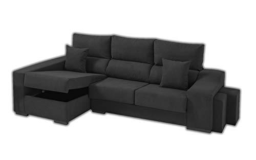 Sofa Cheap Chaise Longue Izquierdo 5 Plazas | Arcón Abatible + 2 Puffs | Respaldos Reclinables Ergonómicos | Gris Antracita (Envío y Subida a Domicilio Incluidos)