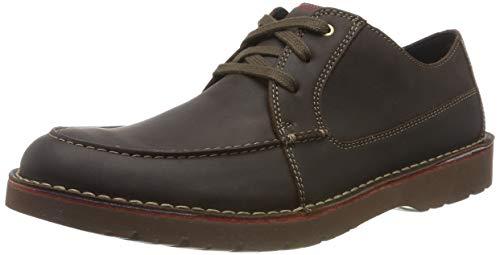Clarks Vargo Vibe, Zapatos de Cordones Derby Hombre, Marrón Oscuro Lea Dark Brown Lea, 42 EU