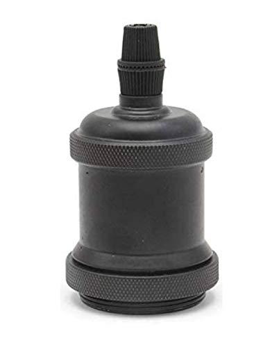 FLYFLY Vintage E27 Portalampada Edison supporto dello zoccolo della lampada, Adattatore in ceramica solida, Retro lampada a sospensione Socket (Nero scuro)
