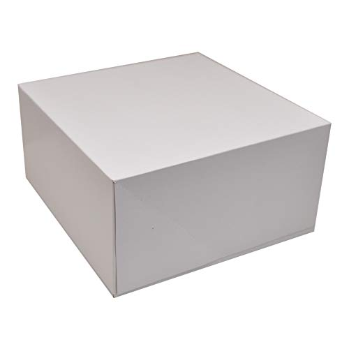 Deep Square Cardboard Box with Lid, 10x10 inch, White Deep Gift Box, 2 Packs of 4 (8 Total)