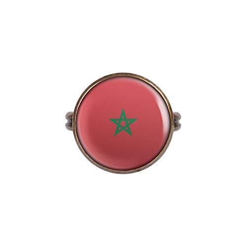 Anillo con Motivo Bandera de Marruecos Marruecos Rabat Bronce 16mm