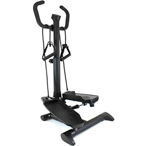 QM-Basic 2in1 Swing Stepper mit Haltegriff Einsteiger Senioren Fitnesstrainer Mini Stepper variabel einstellbar mit Trainingsbändern und Trainingscomputer