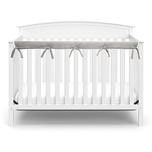 American Baby Company Supreme 1 Pack Heavenly Soft Narrow Reversible Crib Rail Cover for Long Rail, Gray and White, for Rails Measuring up to 4' Folded